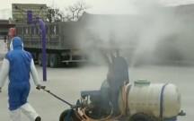 """富平梅家坪镇车家村群众自制的""""流动喷雾消毒车"""""""