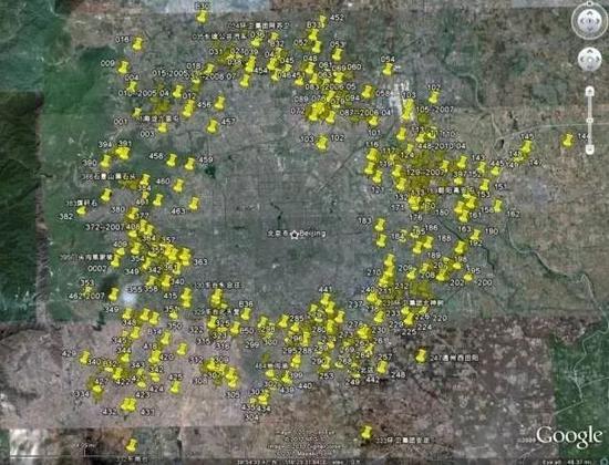 把北京垃圾堆放场在地图上标记一下,就是这效果