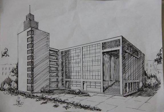 手绘校园风景是该校大学生记者团策划的活动之一