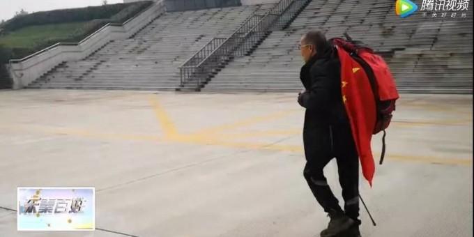 """""""中国阿甘""""金世明抵达渭南 已行走14万3000公里"""