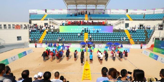 高清组图:十四运会沙滩排球测试赛在大荔开赛