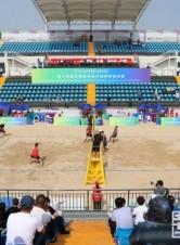 十四运会沙滩排球测试赛比赛首日精彩瞬间
